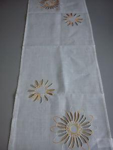 Tischdecke Läufer Decke Tischdecke Mitteldecke Blume Weiß/Creme Gelb 40x110cm