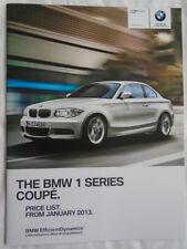 BMW 1 Series Coupe price list brochure Jan 2013