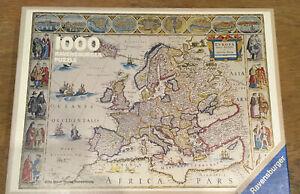 """rare Ravensburger 1000 Piece Jigsaw Puzzle """"Europakarte von 1663"""""""