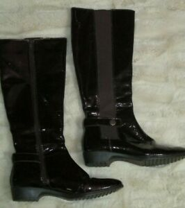 Sofft Size 6M Dark Plum Purple Patent Leather Tall Side Zip Stretch Panel Boots