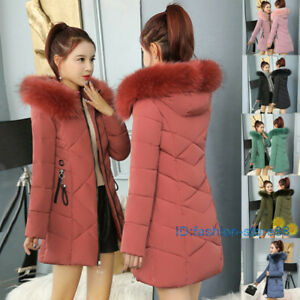 Winter Women's Down Cotton Parka Fur Collar Hooded Coat Quilted Jacket XS-XL