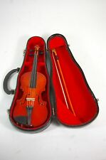 Miniature Violin and Bow with Case Wood Musical Instrument