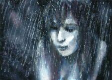 ACEO Rain woman abstract umbrella landscape original painting art card signed