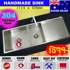 Sink Stainless Steel Double 1.5 Square Kitchen Under Topmount Drainer 1114x450