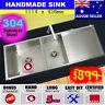 Sink Stainless Steel Double 1.5 Square Kitchen Under Topmount Drainer 1114x450