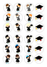 24 GRADUATION NO 2    CUPCAKE  WAFER RICE EDIBLE TOPPERS