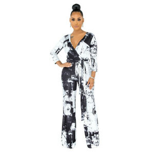 Stylish New Women Long Sleeves V Neck Bandage Patchwork Print Causal Jumpsuit