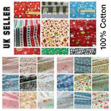 100% Cotton Christmas Fabric 160 CM Wide Metre for Sewing Quilting Face Masks UK
