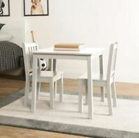 Kids Table And Chair Set, 3-Piece White Square Wood Table And 2-Chairs Furniture