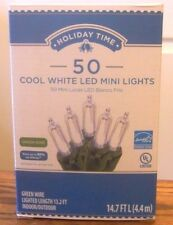 Holiday Time 50 Cool White LED Mini Lights-Christmas-Wedding-NEW-Green Wire