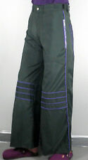Dark Green Ladies Flared Trouser Purple Piping Size S Cosplay Psy Rave