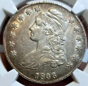 🌟GORGEOUS🌟 AU-55 LETTERED 1836 Capped Bust Half Dollar NGC  Nice looking coin!