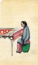 More details for antique 19th-century chinese pith painting, qing dynasty woman weaving