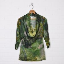 Alberto Makali Boho Green Animal Paisley Print Mesh Cowl Neck Shirt Blouse Top S