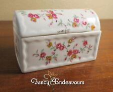 Vintage Limoges Porcelain Pink Rose Camel Back Treasure Chest Trinket Box
