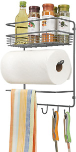 mDesign Metal Wall Mount Paper Towel Holder with Storage Shelf and Hooks for - -