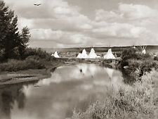 Restored Reprint Vintage Native American Indian PHOTO CROW CAMP ON BIGHORN RIVER