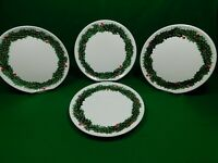 5 Vintage Lefton Holly & Berries White 9 in Hand Painted Christmas Plates 610