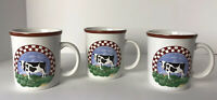 "Century Stoneware ceramic Set 3 Cow mugs ""Frannie's Farm""  EUC"