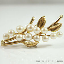 MING'S HAWAII PEARL FLORAL 14K YELLOW GOLD BROOCH PIN