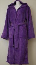Damen  Bademantel Kuschel Soft Fleece Microfaser mit Kaputze & Taschen Lila
