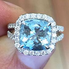 14K WHITE GOLD CUSHION CUT BLUE TOPAZ AND DIAMONDS ENGAGEMENT RING HALO 4.70CTW