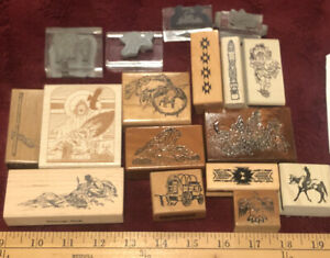 VINTAGE HUGE LOT NATIVE INDIAN CRAFT WOOD MOUNTED RUBBER STAMP BUFFALO FEATHERS