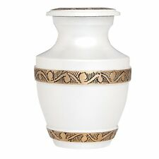 WHITE FUNERAL KEEPSAKE URN - SMALL NEW BRASS URN FOR HUMAN ASHES -Cremation Urns