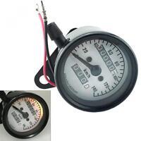 Motorcycle Dual Odometer Speedometer Gauge Speed Meter W/ Bracket Cafe Racer