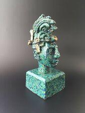 Vintage Mid Century Zarebski Mexican Mayan Warrior Bust Malachite Art Sculpture