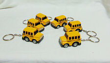 (6) Modern Mini City Team Yellow Diecast School Bus Key Chains Pull Back Action