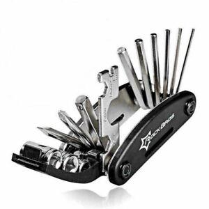 UK RockBros Black Bike Repair Tool Pocket Multi Function Folding Tool 16 in 1