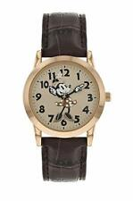 Disney Minnie Mouse Women's Rose Gold Case Brown Leather Strap Watch - MN1547