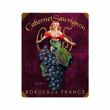 Cabernet Sauvignon Bordeaux France Pin Up Art Retro Sign Blechschild Schild NEU