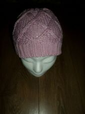 MOUNTAIN LIFE DUSKY PINK CABLE KNITTED COTTON & ACRYLIC BEANIE HAT ONE SIZE