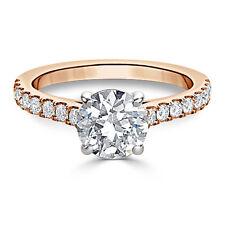 14K Rose Gold Ring 2.48Ct Diamond Engagement Size N Certified Hallmarked