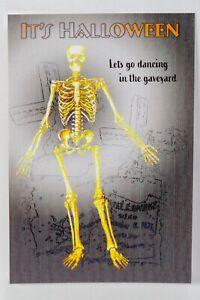 Halloween VTG Style Original Skeleton Postcard - Let Go Dancing in the Graveyard
