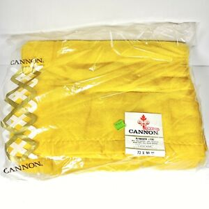 """Vtg Cannon Satin Trim Thermal Blanket 72"""" X 90"""" Gold Mustard Waffle Weave NEW"""
