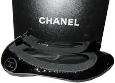 Chanel Black Patent Leather Ballerina Cap Toe Logo Flat Ballet Shoe 37.5- 7