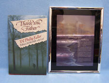 Lot of Religious Footprints Framed Picture & Book Thank You, Father