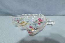 "Christmas Tree Shaped Glass Dish w Bell Poinsettia 7 1/2"" Savoir Vivre Japan"