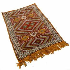 Hand Woven Wool Throw Rug Southwestern Western Hanging Tapestry Red Orange