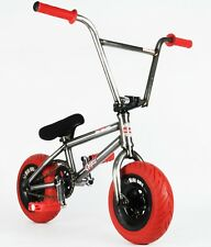 "10"" MINI BMX, ROCKER, fat wheel trick dirt monkey bike, RAW/RED, 3pc crank"