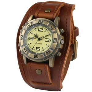 Steampunk Mens Quartz Watch Retro Durable Wide Leather Band Wristwatch Gifts