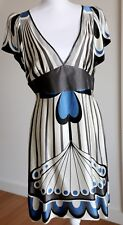 THURLEY SIZE 12 A LINE V NECK DRESS SILK CREAM BLUE