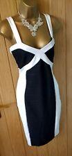 Women's JANE NORMAN Black white textured bodycon pencil DRESS UK 14 ( US 10 )