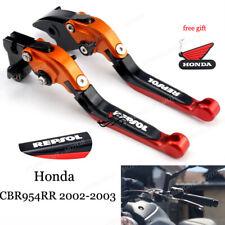 CNC Accessories Brake Clutch Levers For Repsol CBR954RR 2002-2003 orange red