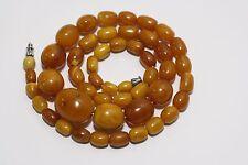 Antique Vintage Natural Baltic Amber Beads egg yolk Necklace 29,1 grams 老琥珀