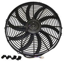 "Electric Fan - 16"" Universal Super Thin Cooling Fan Reversible Black -12 Volt"