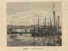 Stampa antica FIUME RIJEKA porto Croazia 1891 Old antique Print starinski ispis